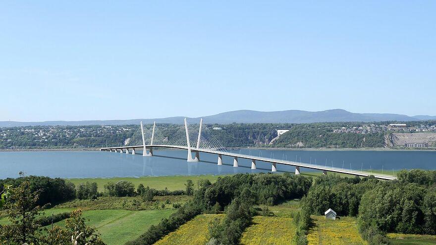 Un croquis du nouveau pont de lle dOrlans Qubec surplombe le Saint-Laurent