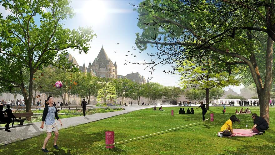 Perspective des espaces verts et polyvalents - lot Thberge