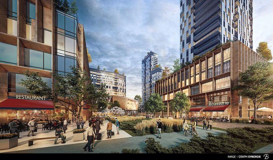 Quatre tours seront érigées à l'intersection du boulevard Laurier et de l'avenue Lavigerie. Deux d'entre elles seront de 31 étages, une de 40 étages et une dernière de 53 étages.
