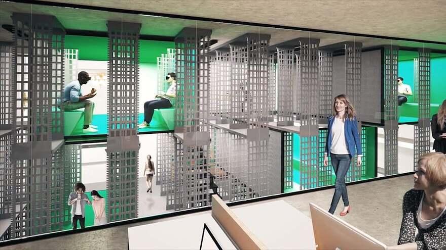 Une reproduction de ce à quoi doit ressembler le projet terminé présente une femme marchant dans un espace moderne où deux jeunes essaient des casques de réalité virtuelle.