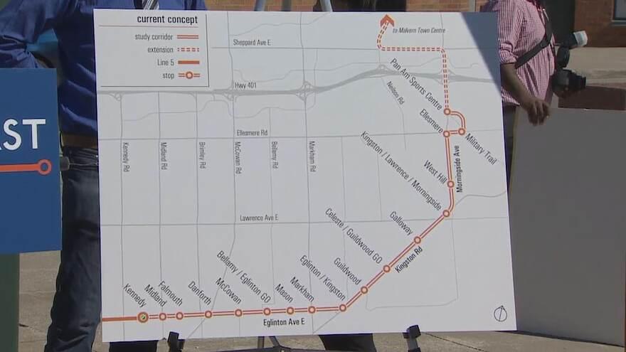Une carte qui montre les plans préliminaires pour la ligne de train léger Eglinton Est.