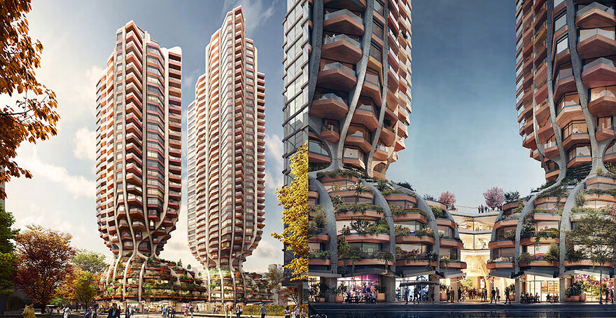 UK firm designs tree-inspired towers for Vancouver proposal (RENDERINGS)
