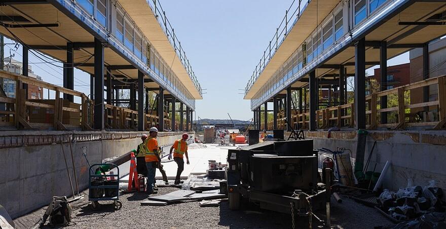 Progression de la station Montpellier au centre de Montréal   Station Montpellier - Mai 2021