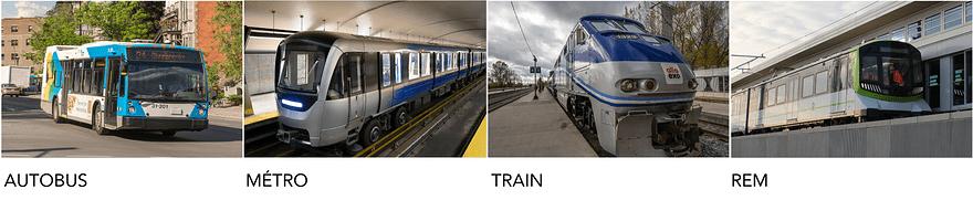 Types de transport collectif Montreal
