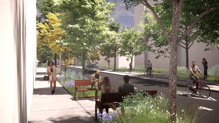 Perspective de la future rue Saint-Urbain réaménagée, entre la rue Beaubien Ouest et l'avenue Beaumont