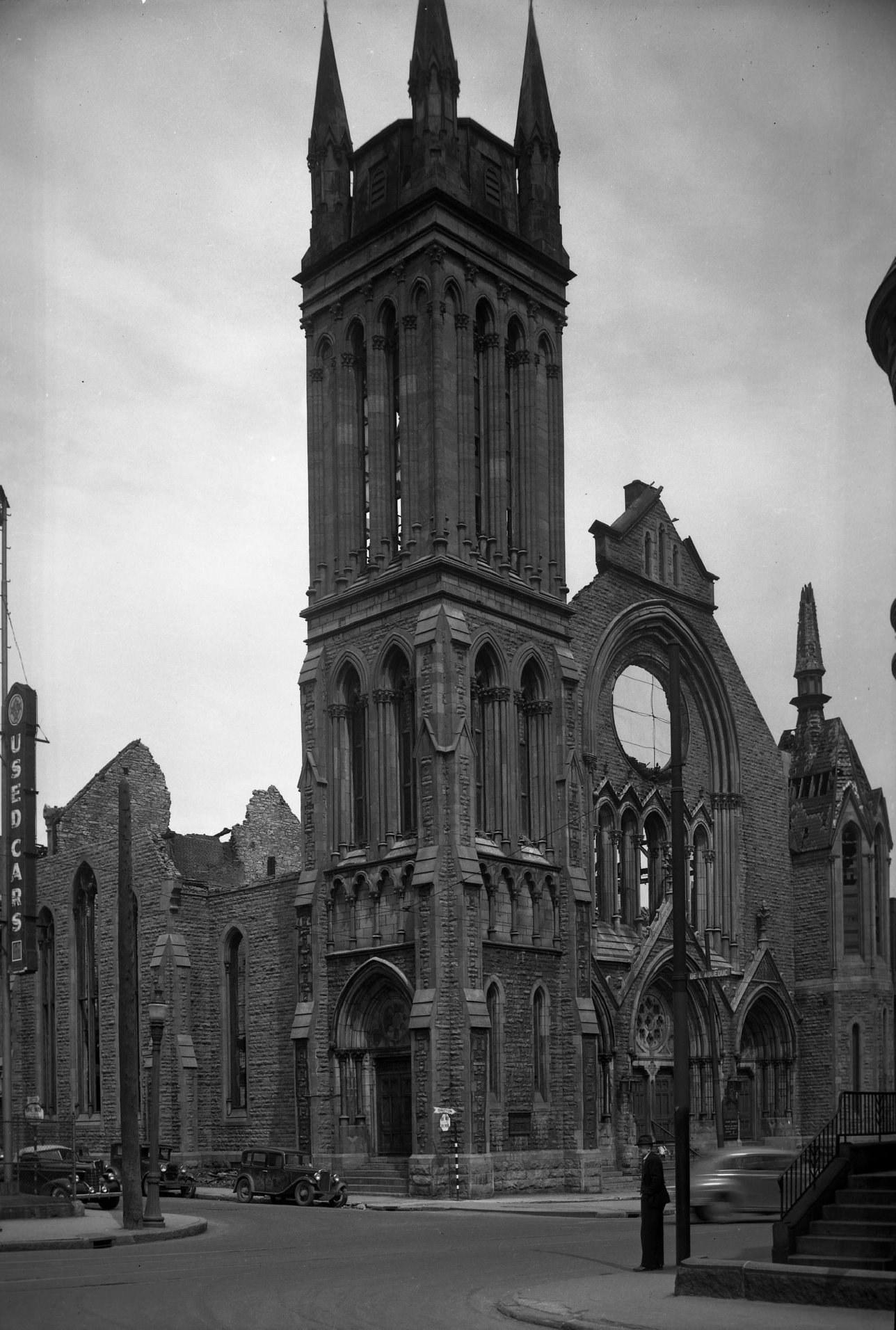 1946.11-incendie_selonRNWilkins Église de la Rue Crescent
