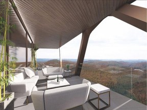 OTTAWA – DECEMBER 2, 2020 – Domaine Pekuliari, an innovative housing project propsosal to be built in the village of Namur, north of Montebello, Quebec. Architectural rendering Courtesy: Domaine Pekuliari, Mu Architecture. For: 1205 col egan tower