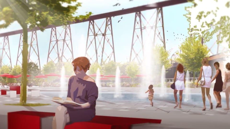 Le futur secteur du parc nautique proximit de la rivire Cap-Rouge avec des fontaines et de lamnagement urbain