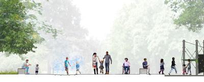 Début du projet d'aménagement du pôle famille du parc La Fontaine (Groupe CNW/Ville de Montréal - Cabinet de la mairesse et du comité exécutif)
