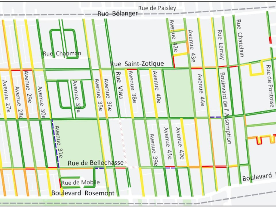 Les rues de larrondissement avec des codes de couleur vert jaune orange et rouge