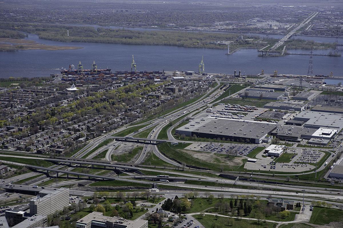 Vue aérienne de l'entrée du tunnel Louis-Hippolyte-La Fontaine, à Montréal - Image fournie par le ministère des Transports