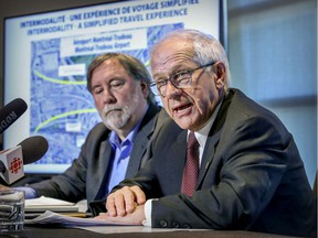 Dorval mayor Edgar Rouleau, right, accompanied by François Pépin of Trajectoire, a public transit users advocacy group, at a press conference in Dorval in 2019 at which time he urged the parties responsible to extend the REM from Trudeau Airport to the Dorval train station transit hub.
